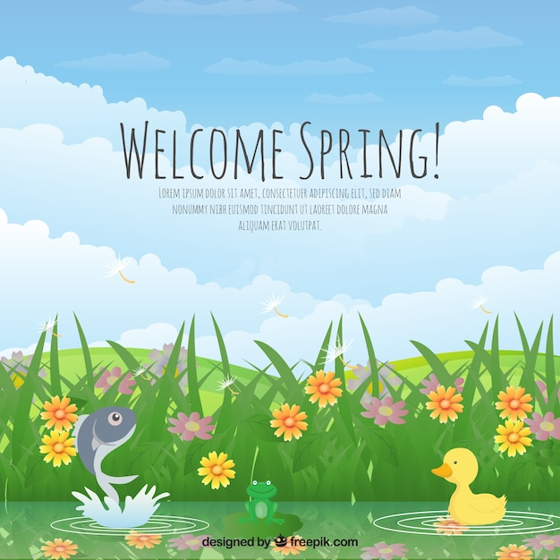 Fondo de paisaje de primavera descargar vectores gratis for Sfondi naif