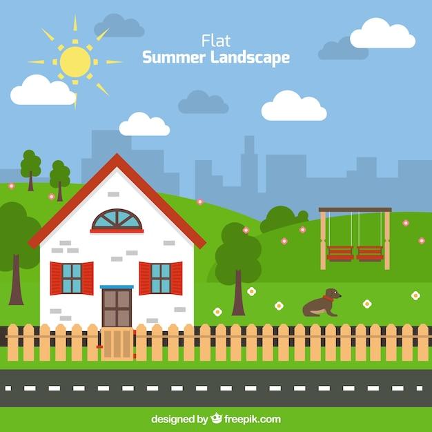 Fondo De Paisaje De Verano Plano Con Una Bonita Casa