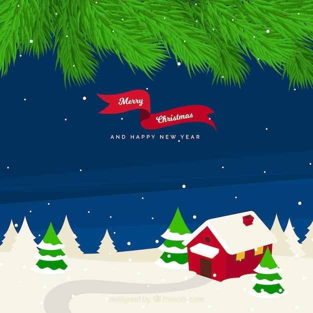 Fondo de paisaje nevado de navidad con casa descargar - Paisaje nevado navidad ...