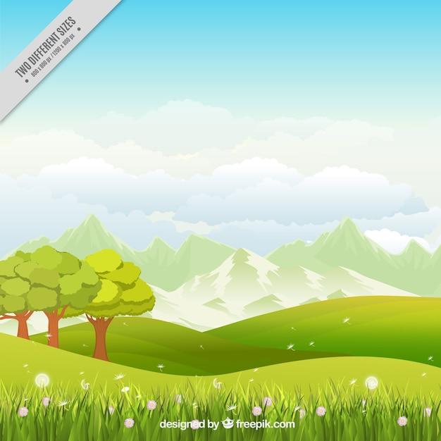 Fondo de pradera con árboles y flores  Vector Gratis