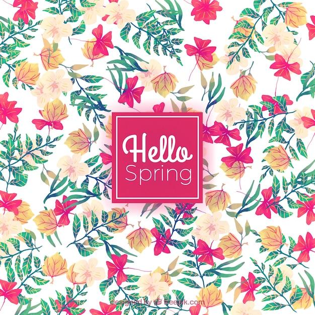 Fondo de primavera con flores y hojas de acuarela | Descargar ...