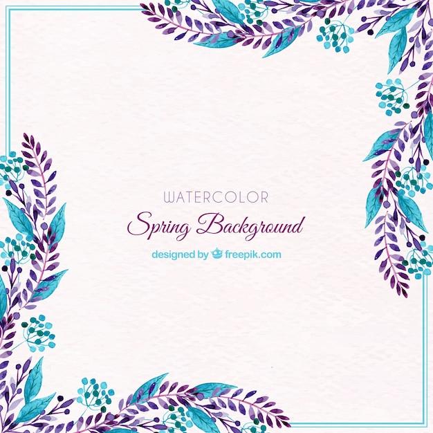 Fondo de primavera de acuarela con hojas azules | Descargar Vectores ...