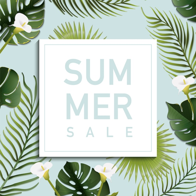 Fondo de rebajas de verano con hojas de palmera | Descargar Vectores ...
