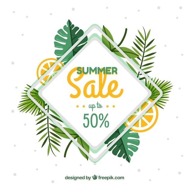 Fondo de rebajas de verano con hojas y limón | Descargar Vectores gratis