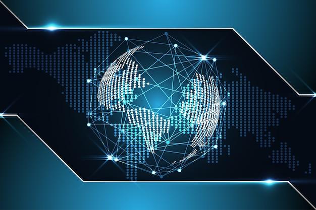 Fondo De Tecnología Abstracta Mapa Del Mundo Digital Punto Metálico Azul En Hi Tech Futuro Desig