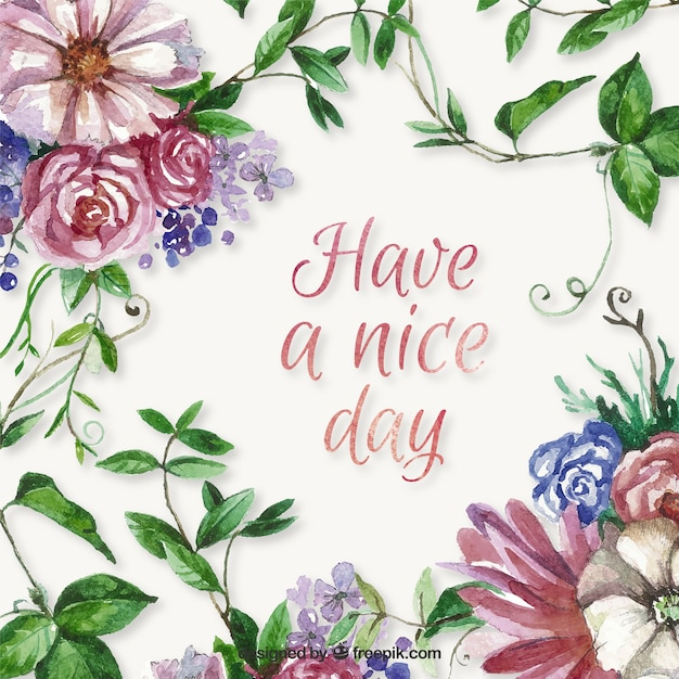 Fondo de tenga buen día con flores de acuarela Vector Gratis