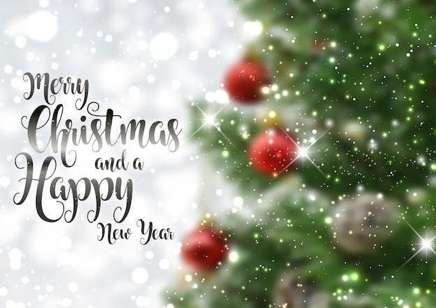 Fondo de texto de Navidad con imagen de árbol desenfocado Vector Gratis