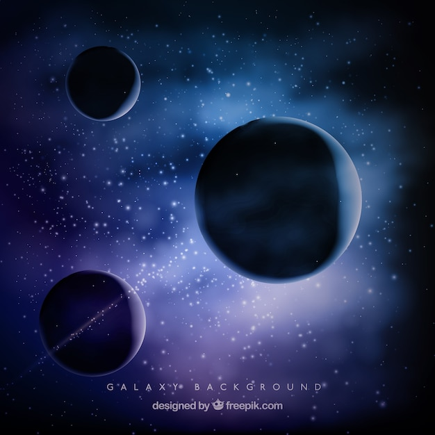Fondo de universo con tres planetas descargar vectores for Immagini universo gratis