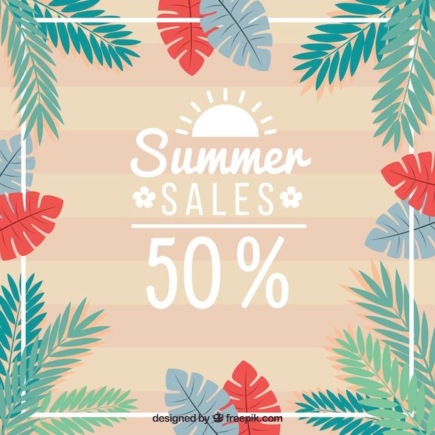 Fondo de verano con hojas de palmeras de colores | Descargar ...