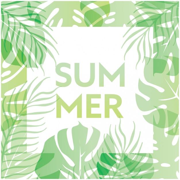 Fondo de verano con hojas tropicales verdes y tipografía | Descargar ...