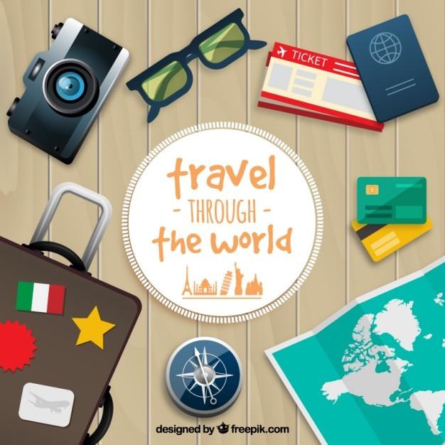 Fondo de viaje alrededor del mundo Vector Gratis