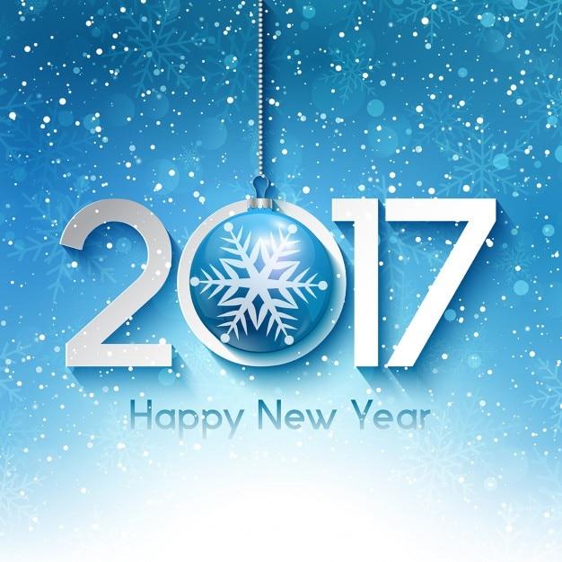 Fondo decorativo de año nuevo con copos de nieve vector gratuito