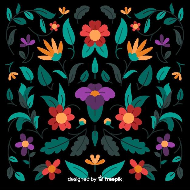Fondo decorativo de bordado floral mexicano vector gratuito