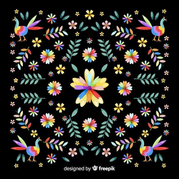 Fondo decorativo bordado floral mexicano vector gratuito