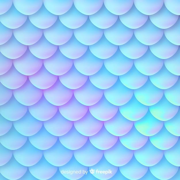 Fondo decorativo cola de sirena holográfica Vector Premium