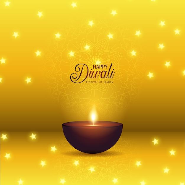 Fondo decorativo de diwali con lámpara de aceite y estrellas vector gratuito