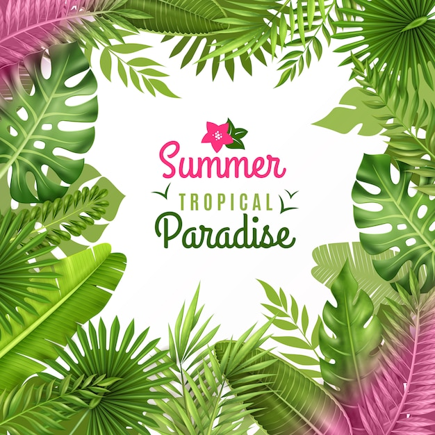 Fondo decorativo de follaje tropical vector gratuito
