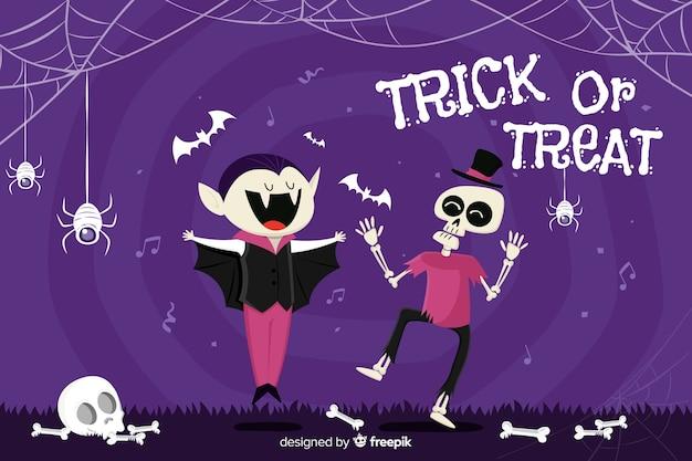 Fondo decorativo de halloween estilo dibujado a mano Vector Premium