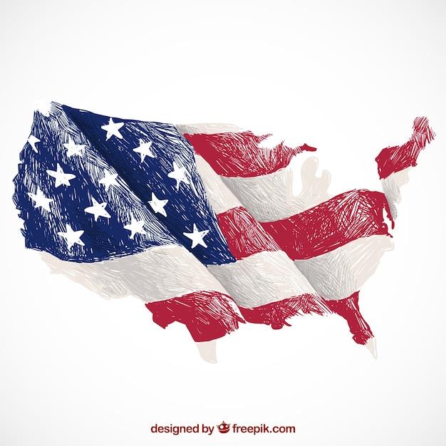 Fondo decorativo con mapa de estados unidos y la bandera Vector Premium
