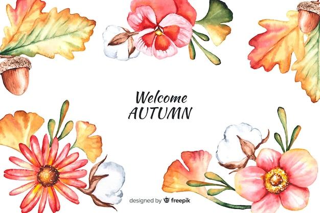 Fondo decorativo de otoño estilo acuarela vector gratuito
