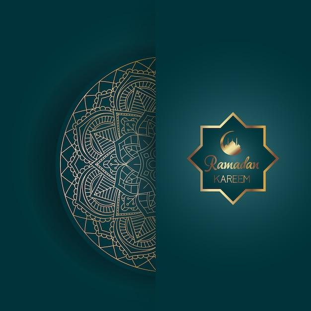 Fondo decorativo de ramadan kareem con diseño de mandala vector gratuito