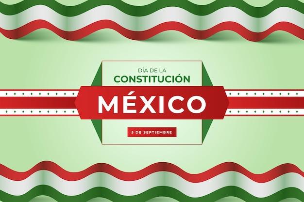 Fondo degradado del día de la constitución con bandera mexicana vector gratuito