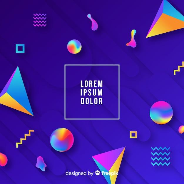 Fondo degradado con formas tridimensionales coloridas vector gratuito