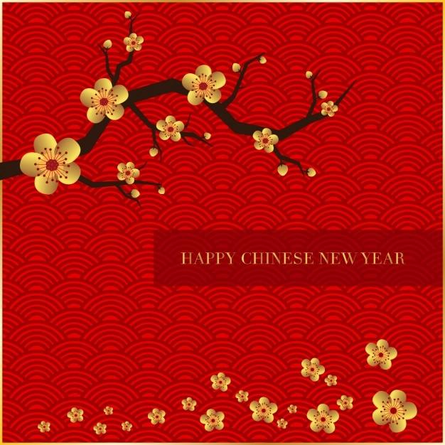 Fondo del año nuevo chino Vector Gratis