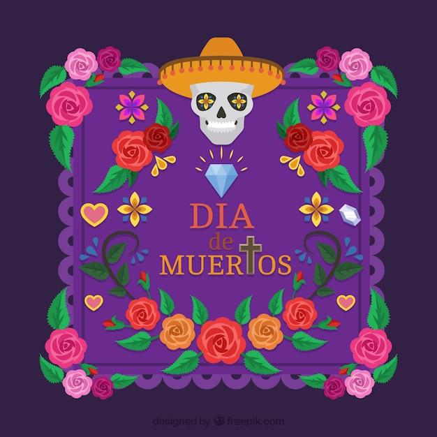 Fondo del d a de los muertos con decoraci n florales for Decoracion de puertas de dia de muertos