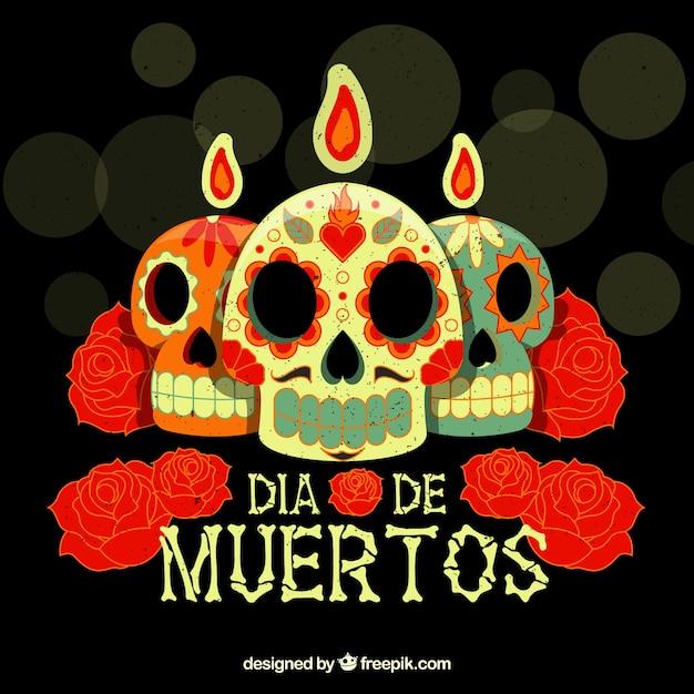 fondo del d u00eda de muertos con velas de calaveras y flores descargar vectores gratis sugar skull vector art sugar skull vector download