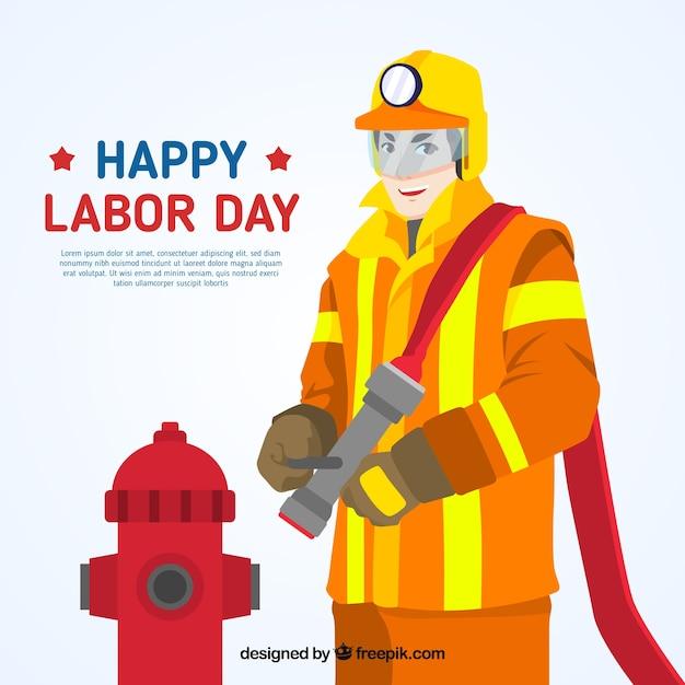 Fondo del día del trabajo con bombero Vector Gratis
