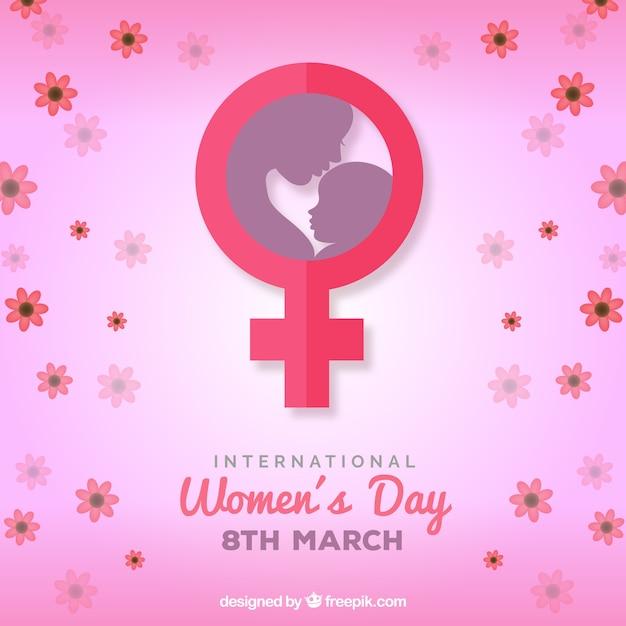 Fondo del día internacional de la mujer en estilo plano Vector Gratis
