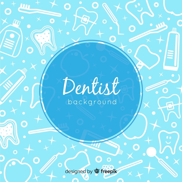 Fondo de dentista en diseño plano vector gratuito