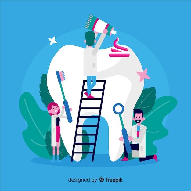 Fondo de dentistas cuidando un diente vector gratuito