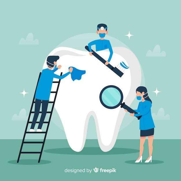 Fondo dentistas limpiando diente grande vector gratuito
