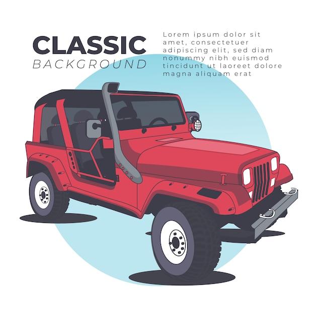 Fondo deportivo clásico con jeep. Vector Premium