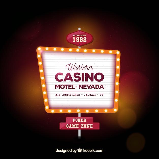 Fondo desenfocado con cartel luminoso de casino Vector Premium