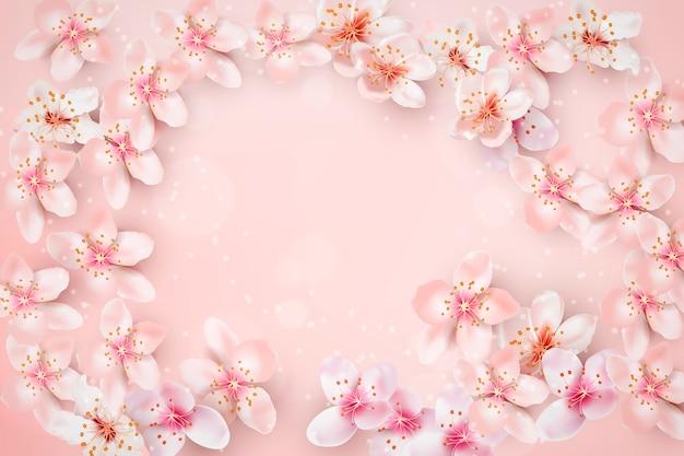 Fondo desenfocado con marco de flor de cerezo vector gratuito