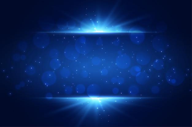Fondo de destellos de luz azul con copyspace vector gratuito