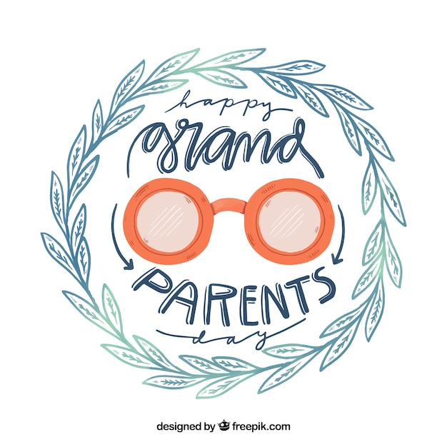 Fondo del día de los abuelos corona de hojas dibujada a mano y gafas vector gratuito