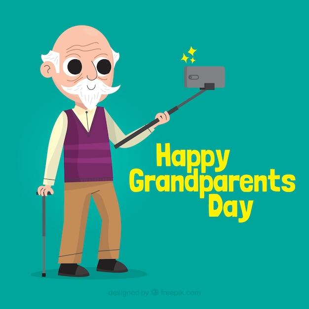 Fondo del día de los abuelos con hombre haciendo selfie vector gratuito
