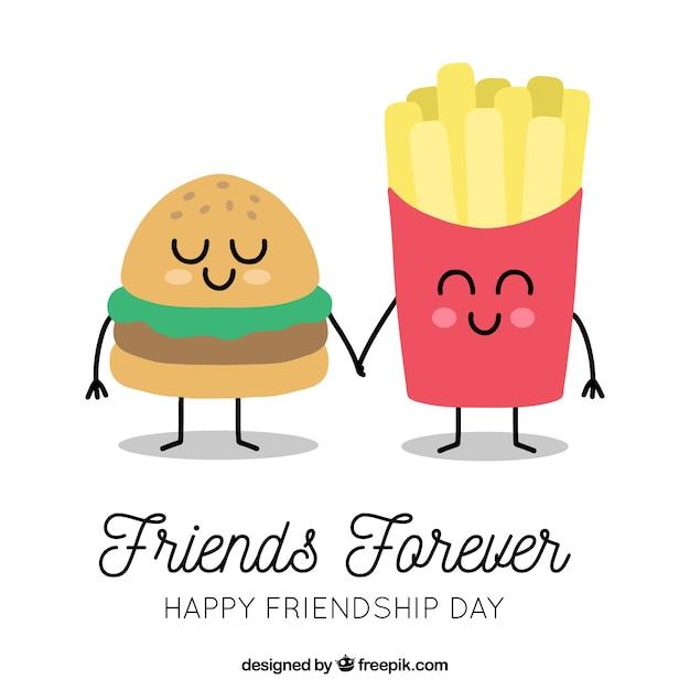 Fondo de día de la amistad con caricatura comida vector gratuito