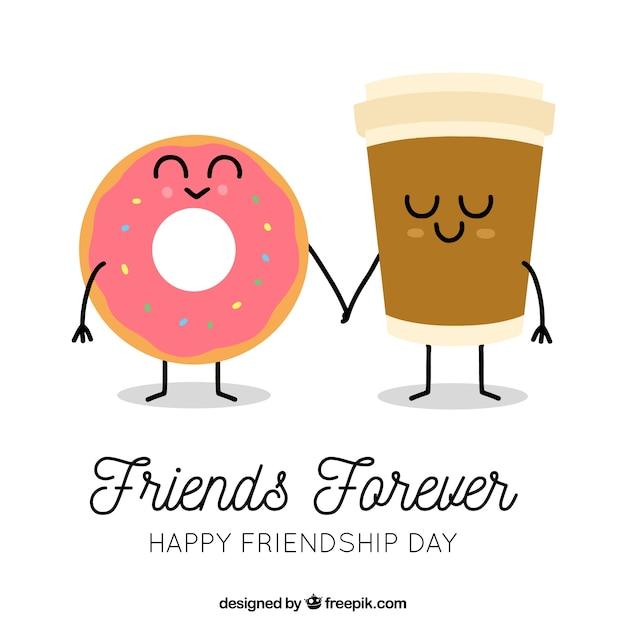 Fondo de día de la amistad con caricatura de comida Vector Premium