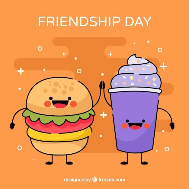 Fondo De Día De La Amistad Con Caricatura De Comida Descargar