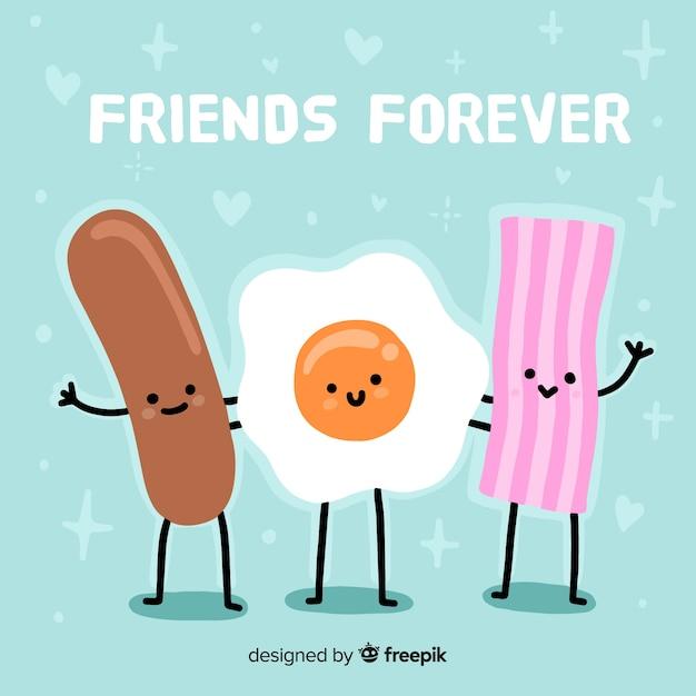 Fondo del día de la amistad dibujado a mano vector gratuito