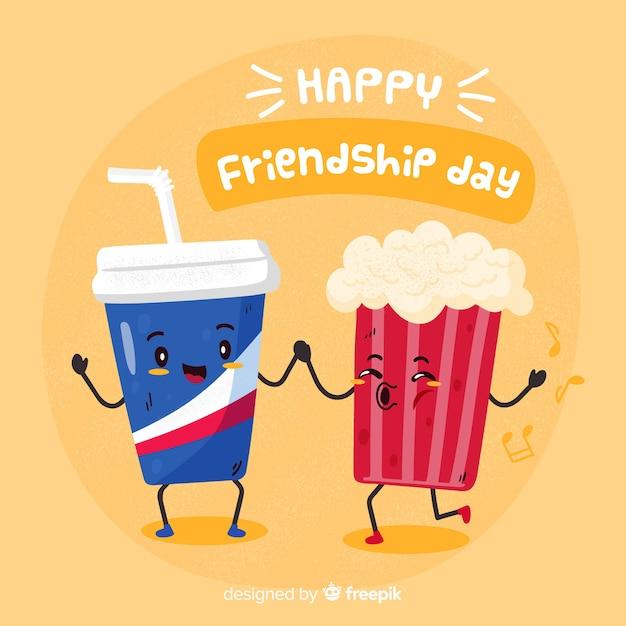 Fondo día de la amistad dibujado a mano Vector Premium