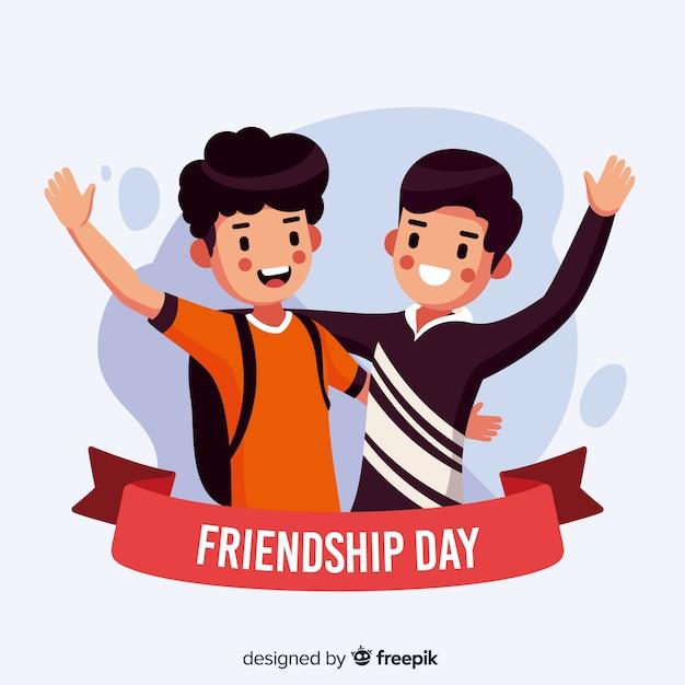 Fondo del día de la amistad en diseño plano vector gratuito