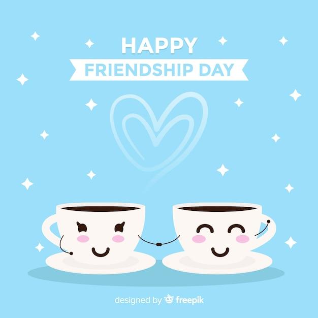 Fondo del día de la amistad de estilo kawaii vector gratuito
