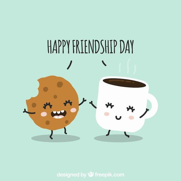 Fondo de día de la amistad con lindas caricaturas vector gratuito