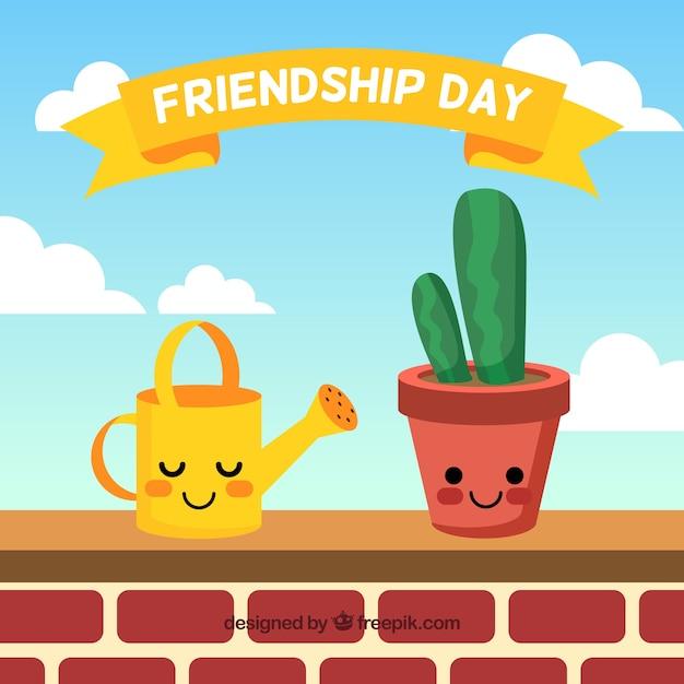 Fondo De Día De La Amistad Con Lindas Caricaturas Descargar